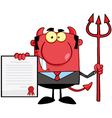 Devil Boss With A Trident Holds Up A Contract vector image vector image