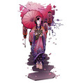 graphic geisha with umbrella vector image