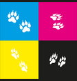 animal tracks sign  white icon with vector image
