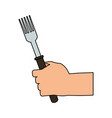color image cartoon hand holding a fork ready to vector image