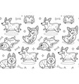 corgi seamless pattern in outline funny vector image