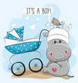 Its a boy with baby carriage and hippo vector image
