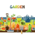 Background with garden sticker design elements and vector image