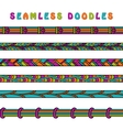Colored seamless doodle border line vector image