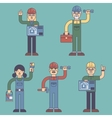 Construction workers builders architects people vector image