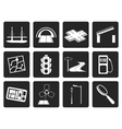 Black Road navigation and travel icons vector image vector image