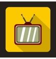 Retro TV icon in flat style vector image