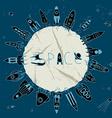 rocket space circle vector image