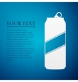 Aluminum can flat icon on blue background vector image