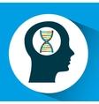 silhouette head dna molecule lab work vector image