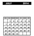 July calendar 2014 vector image vector image