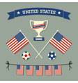 flat design us soccer icons symbols decoration vector image vector image