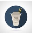 Rice box flat round icon vector image