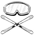 Doodle ski goggles skis vector image