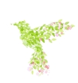 Flying beautiful bird with flowers and green vector image