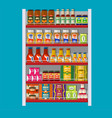 supermarket shelves with groceries vector image