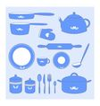 Kitchen icon set of utensils vector image