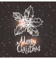 Christmas Card With Sketch Holly vector image