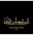 Gold silhouette of Kansas City on black background vector image