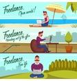 Hipster Freelancer Banners Set vector image vector image