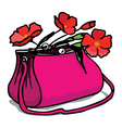 bag and flowers vector image