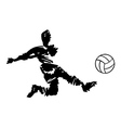 soccer player shooting in black and white vector image vector image