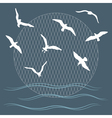 seagulls over waves vector image