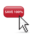 Save 100 Button Click vector image vector image