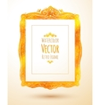 Watercolor golden vintage frame vector image
