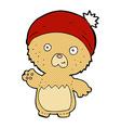 comic cartoon cute teddy bear in hat vector image