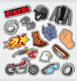 biker doodle with motorcycle sunglasses vector image