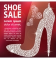 high heels shoe made with diamonds vector image