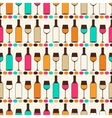 Seamless retro pattern with bottles of wine and vector image