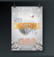 White christmas party flyer with vector image
