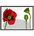 Painting with red flower and green bud vector image vector image