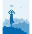 Yoga at dawn landscape for your design vector image