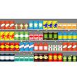 Supermarket shelves with garlands vector image