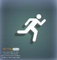 running man icon symbol on the blue-green abstract vector image