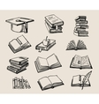 Books stack sketch vector image