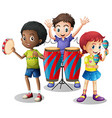 Children playing musical instruments together vector image