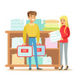 couple buying bedsheets for bedroom smiling vector image