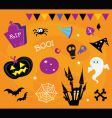 Halloween icons and design elements vector image