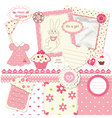 Scrapbook set for baby girl vector image