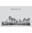 Kansas City skyline silhouette in grayscale vector image