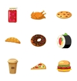 Unhealthy food icons set cartoon style vector image