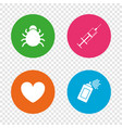 bug and vaccine signs heart spray can icons vector image