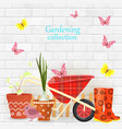 banner with gardening tools and equipments on vector image