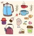 Hand drawn set of tea essentials - cups vector image