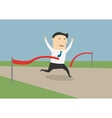 Businessman crossing the finish line vector image