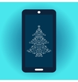 Smartphone and Christmas tree vector image